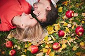 Happy young couple with ripe apples looking at one another while lying on ground