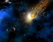 Space scene background with fictional planets and blazing meteorites