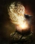 stock photo of greek  - Pandoras box and scull smoke - JPG