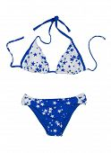 stock photo of one piece swimsuit  - Blue with stars fashionable swimsuit - JPG
