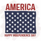 America - Happy Independence Day - Flag Stars Patriotic Vector