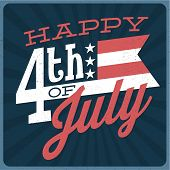 Happy 4th of July - Independence Day Vector Text Design