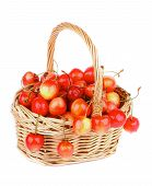 image of bing  - Sweet Maraschino Cherries in Wicker Basket isolated on White background - JPG