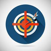 Achieving Goal Symbol Arrow Hit the Target Icon on Stylish Background Modern Flat Design Vector Illu