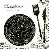stock photo of dinner invitation  - Illustration of a plate with cutlery to be used as menu or invitation - JPG
