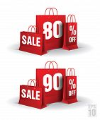 Shopping bag printed with a eighty and ninety discount. Vector. Isolated.