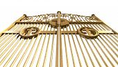 pic of gates heaven  - A concept image of the golden gates to heaven shut on an isolated white background - JPG