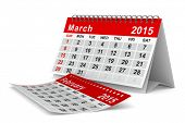 2015 year calendar. March. Isolated 3D image
