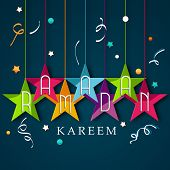 Colorful hanging stars with stylish text Ramadan on blue background for holy month of Muslim community.