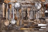 foto of food preparation tools equipment  - Old and various accessories for the preparation of food - JPG