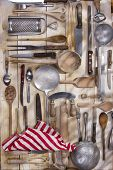 pic of food preparation tools equipment  - Old and various accessories for the preparation of food - JPG