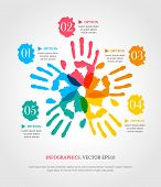 Hand Prints With Numbers. Creative Infographic Template For Your Business. Teamwork Concept.