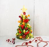 Fruit Christmas Tree With Different Berries, Fruits And Mint