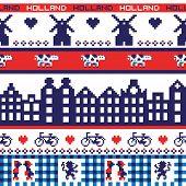 Seamless retro pixel Holland pattern