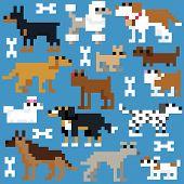 Seamless retro pixel dog pattern