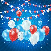 Independence day balloons and confetti