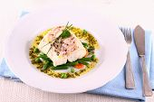 picture of cod  - Cod fillet with green beans peas parsley olive oil close up - JPG