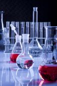 Laboratory Glassware in Blue