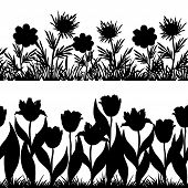 Flowers and grass silhouette, set seamless
