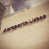 LISBON, PORTUGAL - MAY 26, 2014: The Lisbon airport sign in front of the main entrance of the Lisbon