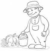 Gardener with vegetables, outline