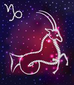 foto of capricorn  - illustration cosmos of the stars of the constellation Capricorn and gems - JPG