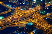 Dubai's crossroads at evening