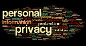 Personal privacy in word tag cloud on black  background
