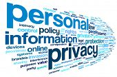 stock photo of text cloud  - Personal privacy in word tag cloud on white background - JPG