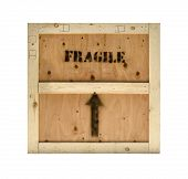 Wood freight crate with fragile and arrow stamp
