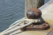 Shipping - Bollard With Thick Rope