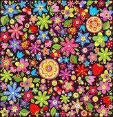 Wallpaper with summer flowers and strawberry