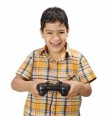 Happy Smiling Boy With Generic Gamepad