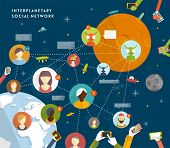 Interplanetary Social Network Vector Concept. Flat Design Illustration for Web Sites Infographic Des
