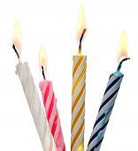 Burning Birthday Candle Cake Isolated On White Background.