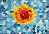 Orange sun in blue sky made from many pieces of torn paper