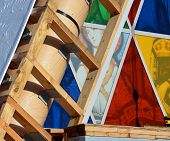 Christchurch Earthquake Rebuild - Cardboard Cathedral Stained Glass Windows Close-up