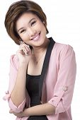 foto of filipina  - a portrait of a young and smiling businesswoman in pink clothes on white background - JPG