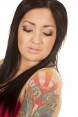 Woman Close Tattoo On Arm Look Down