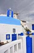 classical blue and white greek architecture on santorini