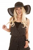 Woman Black White Dots Hat Play With Hair