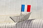 Paper Boat With Flag Of France