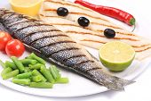 stock photo of pangasius  - Grilled seabass with pangasius fillet - JPG