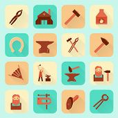 picture of blacksmith shop  - Decorative blacksmith shop anvil fire place molding tools and horseshoe pictograms icons collection flat  isolated vector illustration - JPG