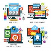 Set design and mobile web services and applications. Vector collection of concepts flat icons for w