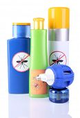 picture of mosquito repellent  - Bottles with mosquito repellent cream and fumigator - JPG