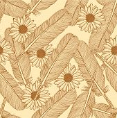 Sketch Feather And Daisy, Vector  Seamless Pattern