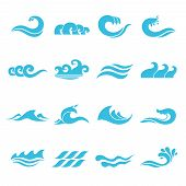 stock photo of flow  - Waves flowing water sea ocean icons set isolated vector illustration - JPG