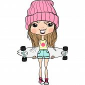 Vector Hipsterl Fashion Cute Girl With Skateboard