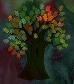 Tree - dramatic design oak leaves